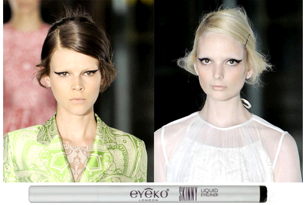LFW ,2012 : Models wearing the Eyeko eyeliner and mascara in the fashion show