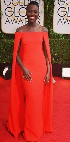 Lupita Nyong'o in Ralph Lauren caped gown