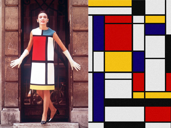 (Left)The Yves St Laurent dress was inspired by the abstract paintings (right) of the Dutch De Stijl artist Piet Mondrian It became known as the Mondrian Collection and was featured on the front of French Vogue in September 1965.